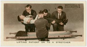 Lifting patient on to stretche... Digital ID: 1569923. New York Public Library