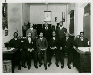 W.E.B. DuBois and members of the New York State Commission on the occasion of the fiftieth anniversary of the Emancipation Proclamation in 1913