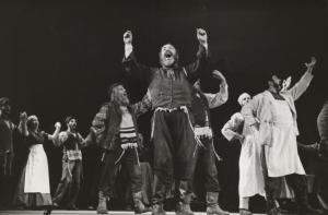 Zero Mostel with ensemble in F... Digital ID: psnypl_the_5222. New York Public Library