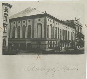 The Academy of Music, New York, built in 1854, from a photograph in the New York Historical Society