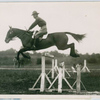 An Army officer demonstrating jumping with a cavalry remount