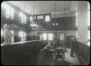 Aguilar Branch, 174 E. 110th St., Circulation Room , 1916, showing changes in the rear
