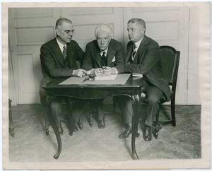 E. S. Barnard president of the American League, Kenesaw M. Landis, and John Heydler, president of the National League