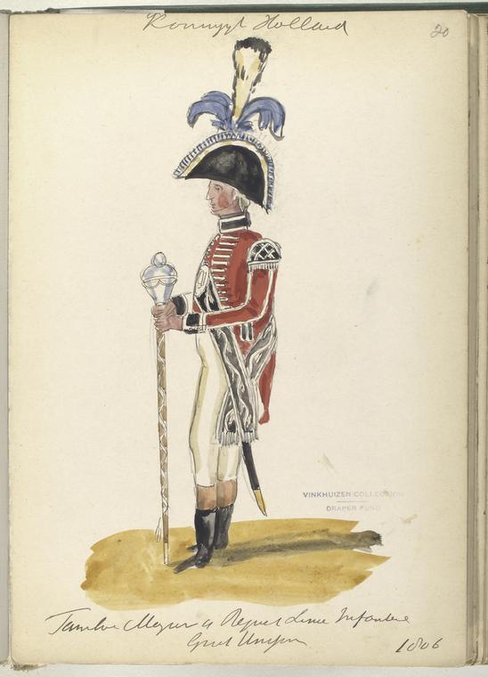 Koninklijk Holland. Tamboer Majoor van Regiment Linie Infanterie (Grand uniform). 1806