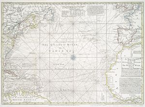 A new chart of the vast Atlantic Ocean : exhibiting the seat of war, both in Europe and America, likewise the trade winds & course of sailing from one continent to the other, with the banks, shoals and rocks drawn according to the latest discoveries,