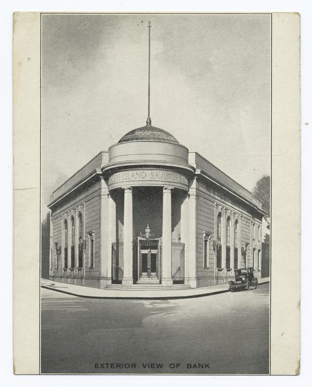 Exterior View of Bank  [i.e., Staten Island Savings Bank] - [Info on back of growth of bank.]