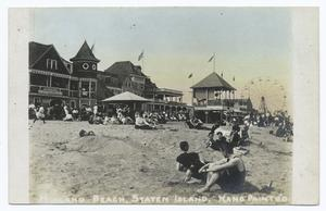 Midland Beach, Staten Island, Hand Paint Co.  [buildings, bandstand, ferris wheel, people on sand.]