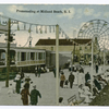Promenading at Midland Beach, Staten Island  [close-up Cables Hotel entrance on boardwalk, people strolling and ferris wheel.]