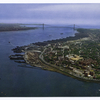 Entrance to New York Harbor showing Verrazano-Narrows Bridge  [beautiful aerial view]