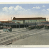 Ferry Terminal, St. George, Staten Island, N.Y.  (buildings with trains and r.r. tracks)