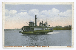Ferry between Perth Amboy, N.J., and Tottenville, Staten Island, N.Y. [old green ferry on water]
