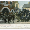 12479-The Last Call, Volunteer Fire Department, West Brighton, Staten Island [approx. 30 men in dress uniform standing by horse drawn wagon with wooden wheels, in front of firehouse]