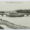 Clove Lakes Park, Staten Island, N.Y. [view of buillding and two foot bridges across lake]