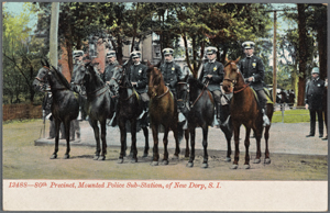 12488-80th  Precinct, Mounted Police Sub-Station, of New Dorp, Staten Island [6 officers in dress uniform posed on horses]
