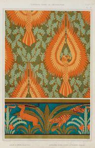 Aigles et chêne, papier peint. Antilopes, tigres, cactus et palmiers, bordure.