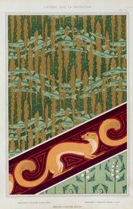 Merlans et algues, papier peint. Mouches et muguet, étoffe de soie. Hermine vulgaire, bordure.