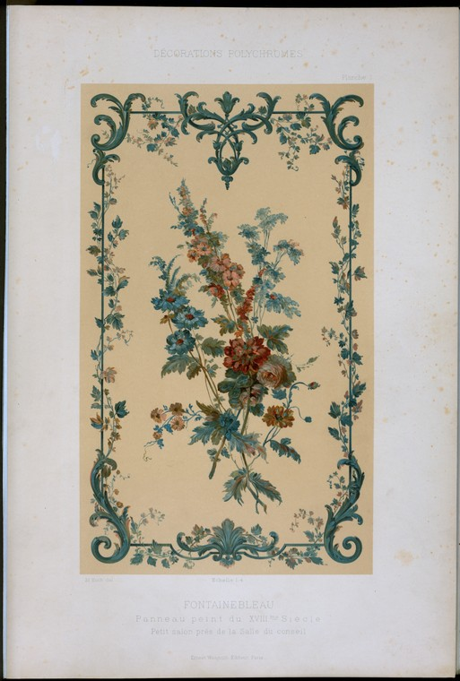 Fontainebleau, panneau peint du XVIIIme siècle, petit salon près de la salle du conseil