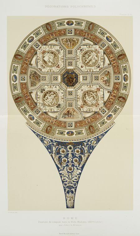 Rome : peinture de coupole dans la Villa Madama (XVIme siècle) par Jule le Romain
