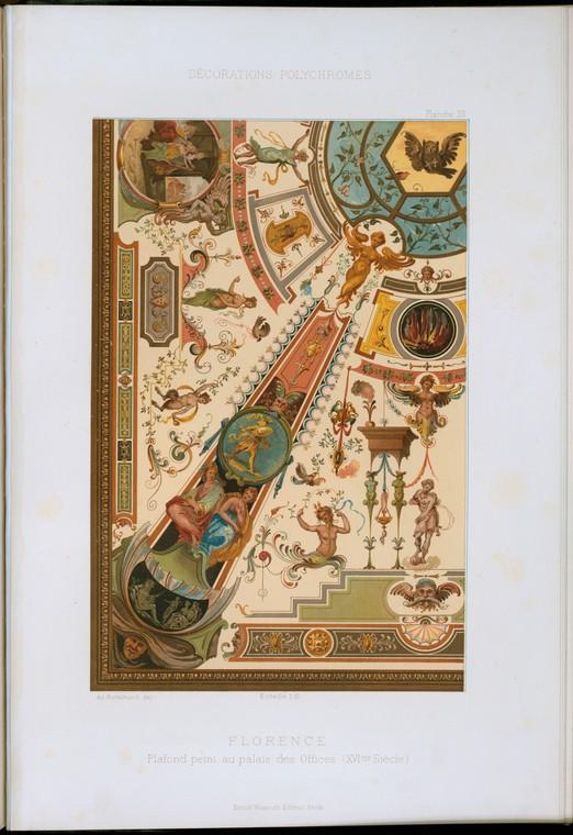 Флоренция: плафон пэинт а.е. Дворце Офисы (XVIme siècle)