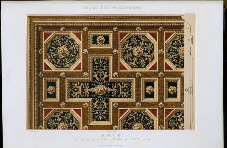 Rome : plafond peint au couvent des pénitenciers (XVIme siècle)