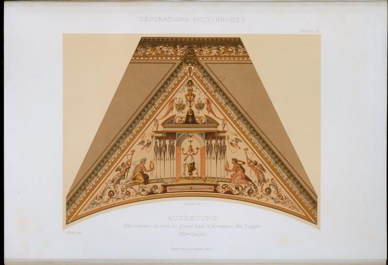 Augsbourg: украшение де монета Au большой водяной à La Maison Des Фуггеров (XVIme siècle)