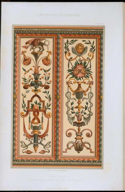 Prague : plafond peint à l'hôtel de ville (XVIIme siècle)