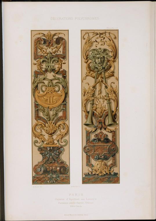 Париж: Galerie d'Apollon а.е. Лувр: панно peints d'après Ж. Берен, XVIIme siècle