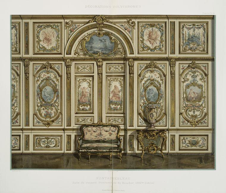 Fontainbleau : salle du conseil, XVIIIme siècle, peintures de Fr. Boucher (XVIIIme siècle)