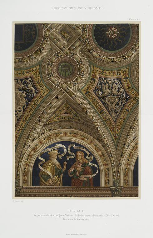 Рим: Appartement де Борджиа а.е. Ватикана, Зале ливров allemands (XVme siècle), peintures де Пинтуриккио