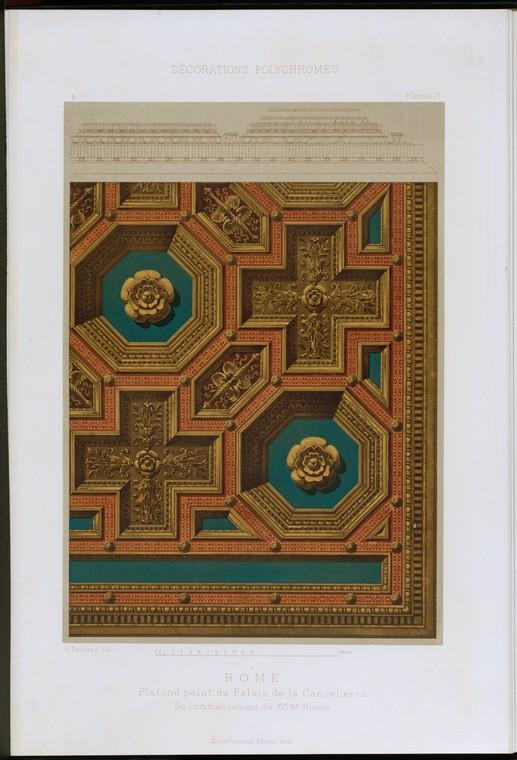 Рим: плафон пэинт дю Пале-де-ла Cancelleria, начало дю-дю-XVIme siècle