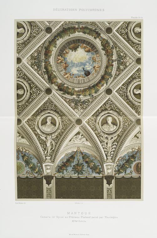 Mantoue: Камера де Sposi Au Chateau: плафон пэинт номинальной Мантенья, XVme siècle