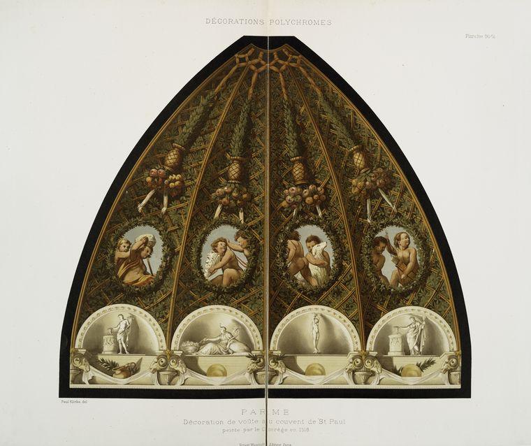 Parme : décoration de voûte au couvent de St. Paul, peinte par le Corrège en 1518