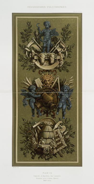Paris : Galerie d'Apollon : panneau peint d'après J. Bérain, XVIIme siècle