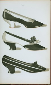 "[Three shoes in ""Magpie"" colors : the first two in kid, the third in black and white velvet.]"