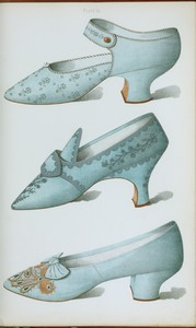 [Single strap shoe in French grey satin, and two blue shoes, all embroidered.]