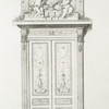 [Door crowned with sculptued bust and putti.]