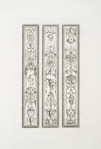 [Three panels with grotesque ornamentation.]