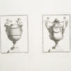 [Two vases, one with putti, the other with winged female figures and snakes.]