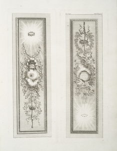 [Two images of ornamentation : shield, helmet and swords; doves on a globe (this plate printed upside down).]