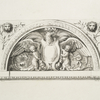 Tympanum with eagle and putti, spandrels with lions' heads]