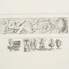 [Frieze of grotesque ornamentation; vases and capital.]