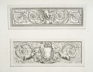 [Two friezes with acanthus leaves and animals.]