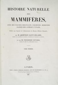 Histoire naturelle des mammiferes, avec des figures originales, coloriees, dessinees d'apres des animaux vivans; publie sous l'autorite de l'administration du Museum d'histoire naturelle, par M. Geoffroy-Saint-Hilaire ... et par M. Frederic Cuvier....
