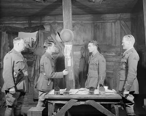 L to R: Henry Wenman (2nd. Lt. Trotter), Derek Williams (2nd Lt. Raleigh), Colin Keith-Johnston (Capt. Stanhope) and Leon Quartermaine (Lt. Osborne).