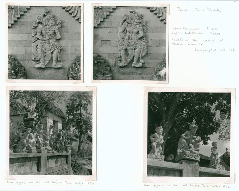 Bali - Den Pasur. (1,2) Hanuman (top left), Lakshmana (top right) -Reliefs on the wall of Bali Museum complex; (3,4) Stone figures on the wall before Toko Sutji (bottom left amd right).