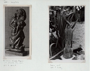 Bali - Sculpture. Monstrous female figure with children (?), wood;  Heron, wood.
