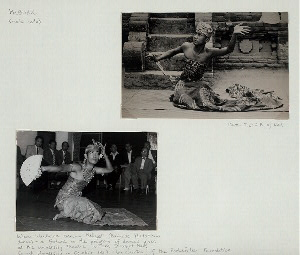 Kebuar (male solo); Wisnu Wardana dancing Kebuar (Balinese flirtations dance) - a feature in the program of dances given at the University Theatre, Willard Straigh Hall, Cornell University in October 1957 - by courtesy of the Rockefeller Foundatin.