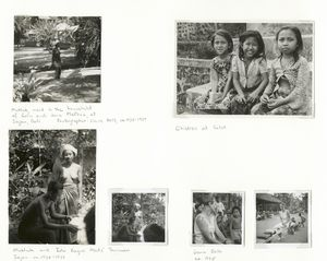 Mukluk, maid in the household of Colin and Jane McPhee, at Sajan, Bali; Children at Selat; Mukluk and Ida Bagus Madé Suwuan, Sajan, ca. 1935-1937; Jane Belo, ca. 1935.