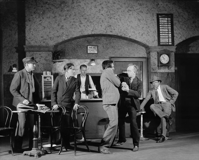 Scene at the Lyceum Restaurant. (Arthur Pederson as Pete, the counter-man, et al.)