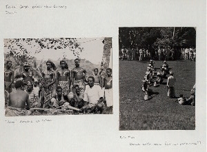 "Irian Jaya (West New Guinea), Dance. ""Hongi"" dancers at Kokas; Fak-Fak. Dance with oars (canoe-pantomime?)"